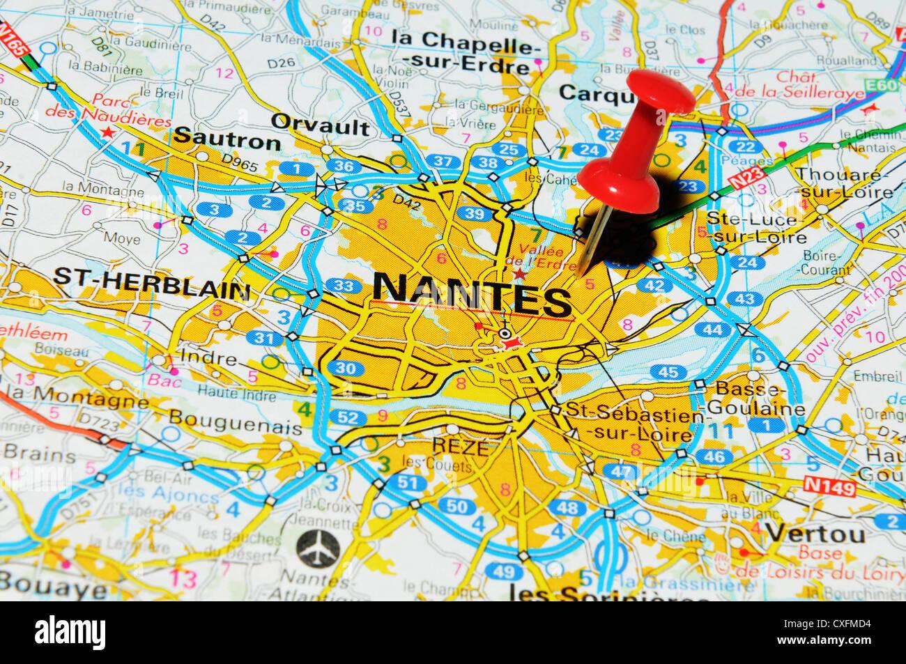 Nantes Karte.Nantes Frankreich Auf Karte Stockfoto Bild 50747120 Alamy
