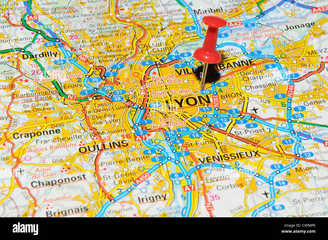 Lyon Karte.Lyon Frankreich Auf Karte Stockfoto Bild 50747368 Alamy