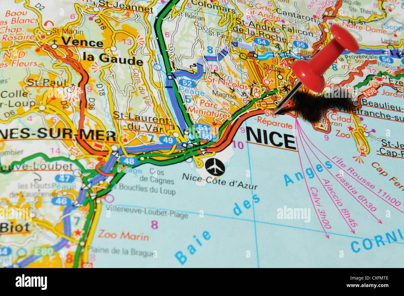 landkarte nizza frankreich Nizza (Frankreich) auf Karte Stockfotografie   Alamy