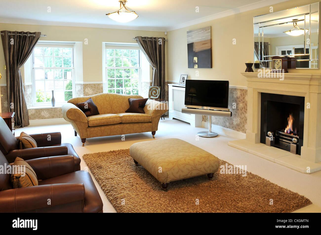Der Innenraum Gestaltet Lounge Ein Luxus Haus Mit Sofas, TV, Kamin Und  Großen Teppich.