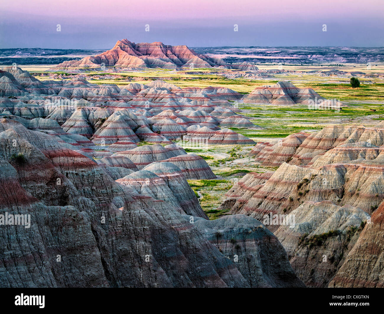 Bunte Formationen in Badlands Nationalpark, South Dakota Stockbild