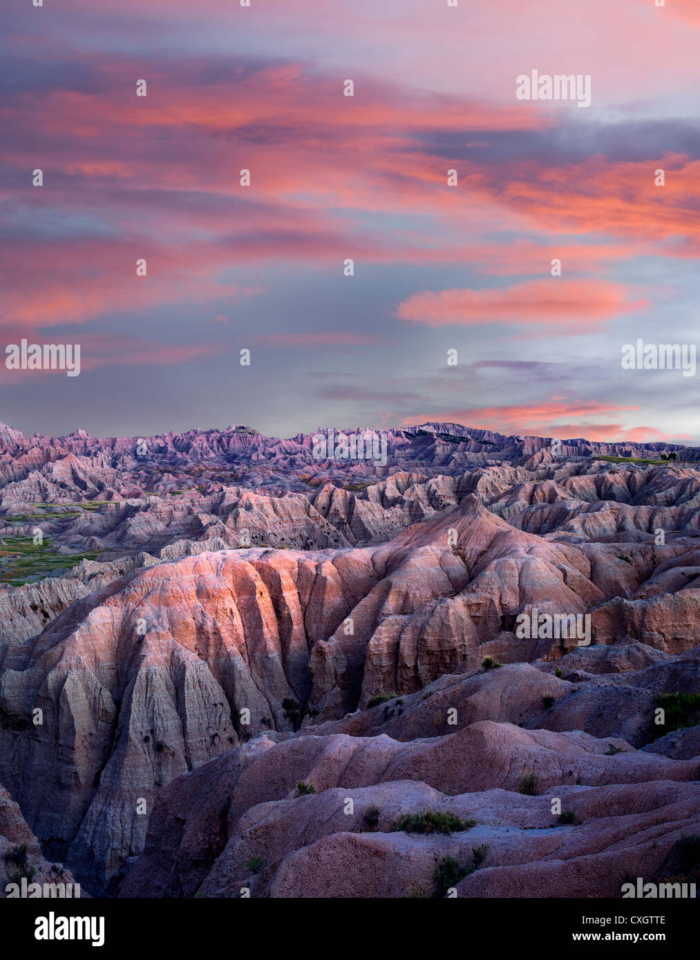 Bunte Formationen in Badlands Nationalpark, South Dakota Stockfoto