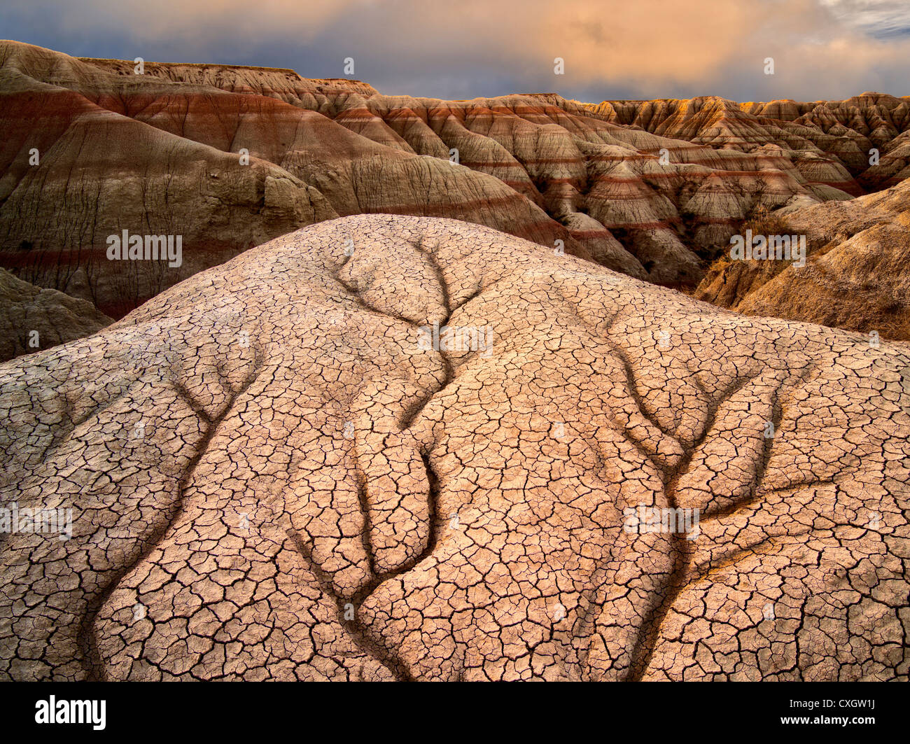 Erodiert und gebrochene Gestein und Schlamm Formationen. Badlands Nationalpark. South Dakota Formationen. Stockbild
