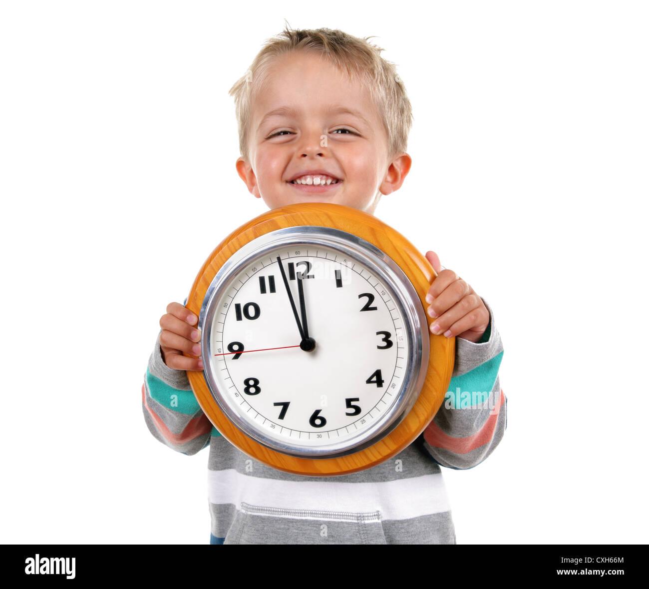Kleiner Junge mit Uhr Stockbild