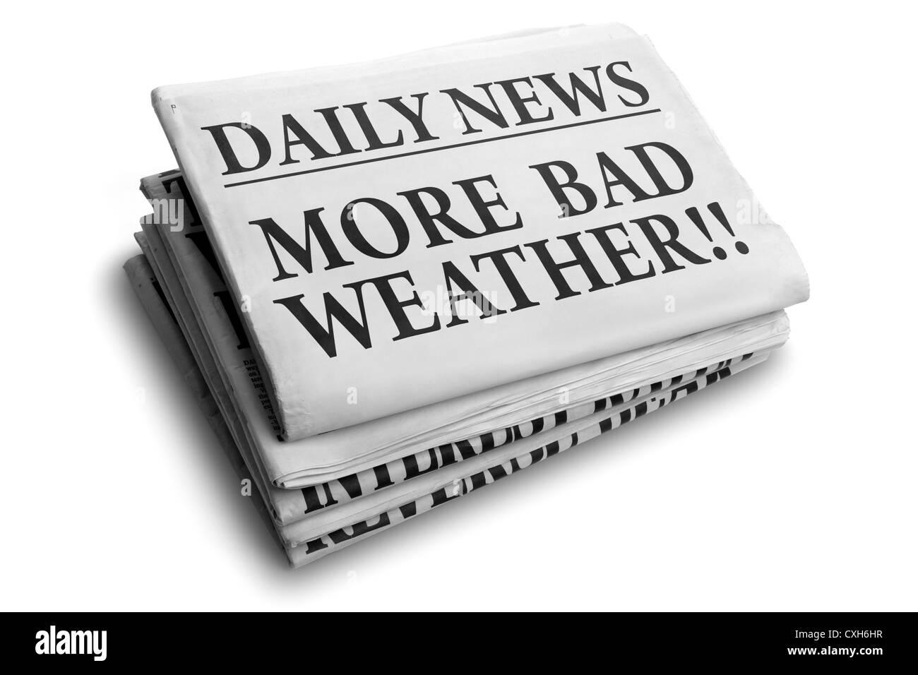 Mehr schlechte Wetter täglich Schlagzeile Stockfoto