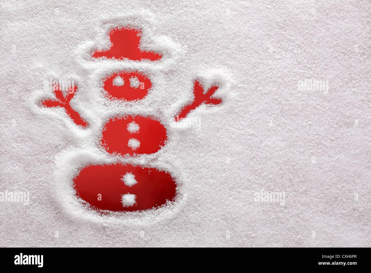 Schneemann im Schnee gezogen Stockbild