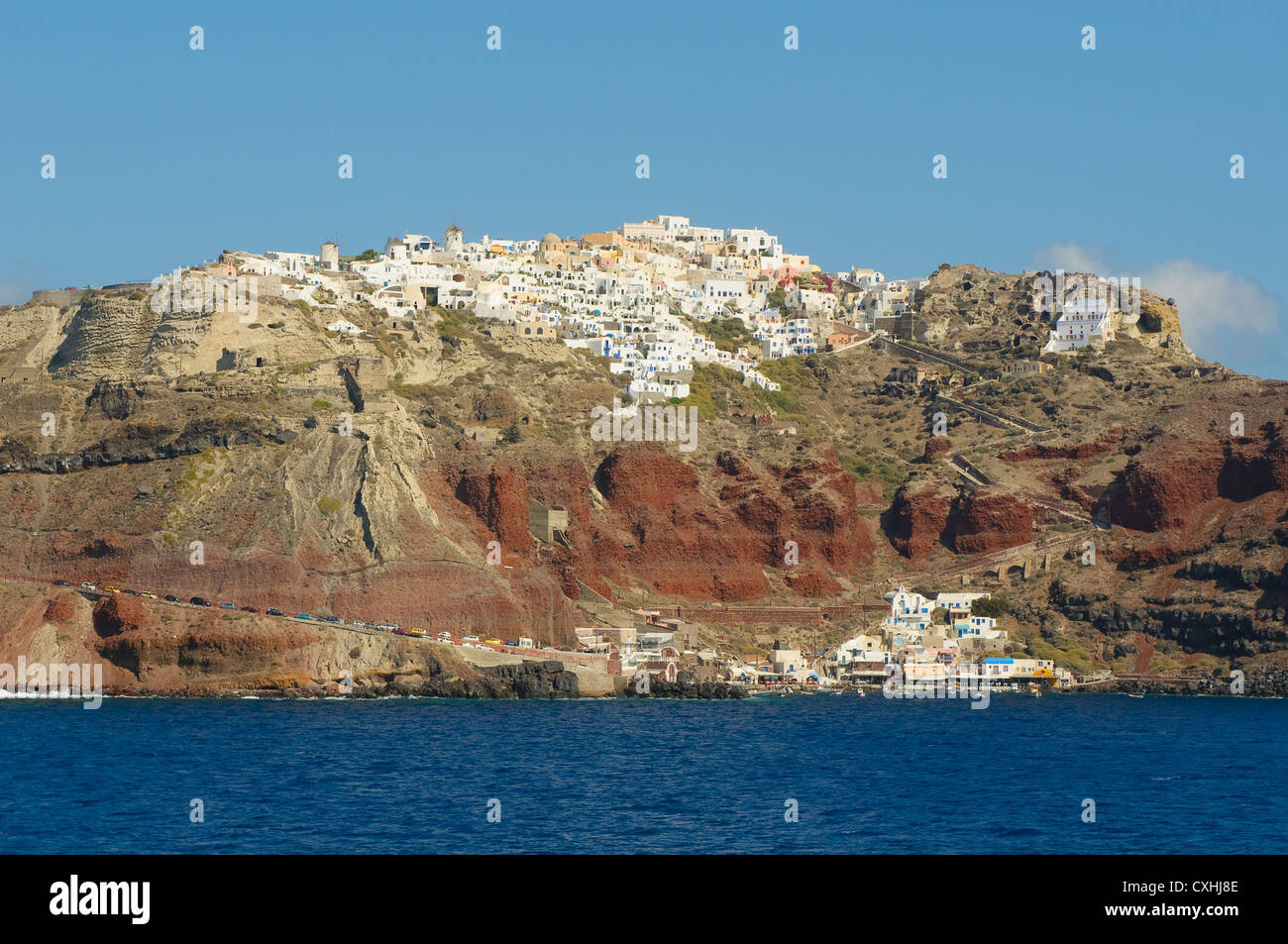 Dorf Oia auf Santorin, Griechenland Stockbild