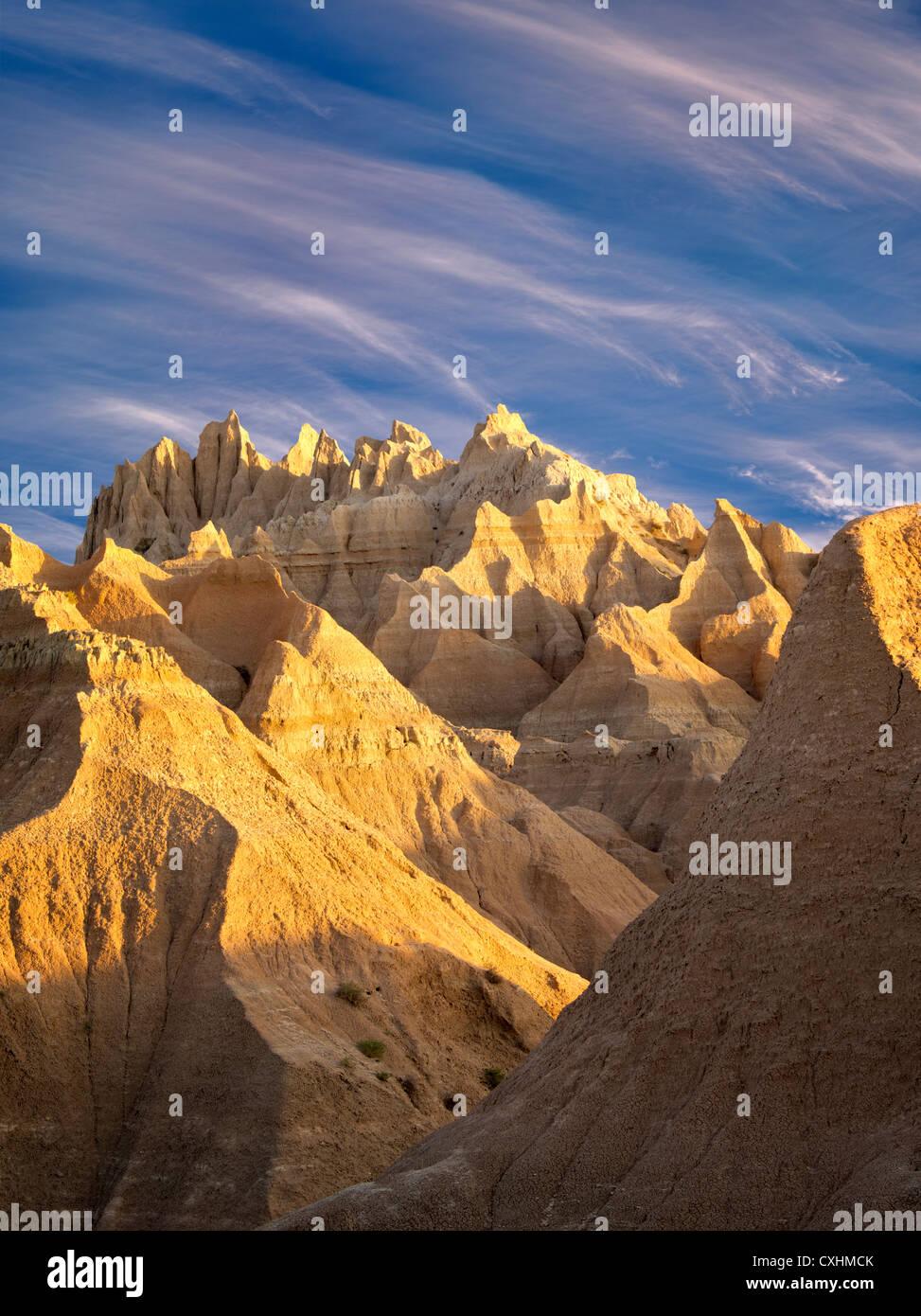 Ausgewaschene Felsformationen. Badlands Nationalpark. South Dakota Stockbild