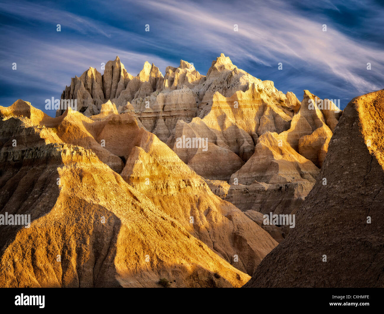 Ausgewaschene Felsformationen. Badlands Nationalpark. South Dakota Stockbild