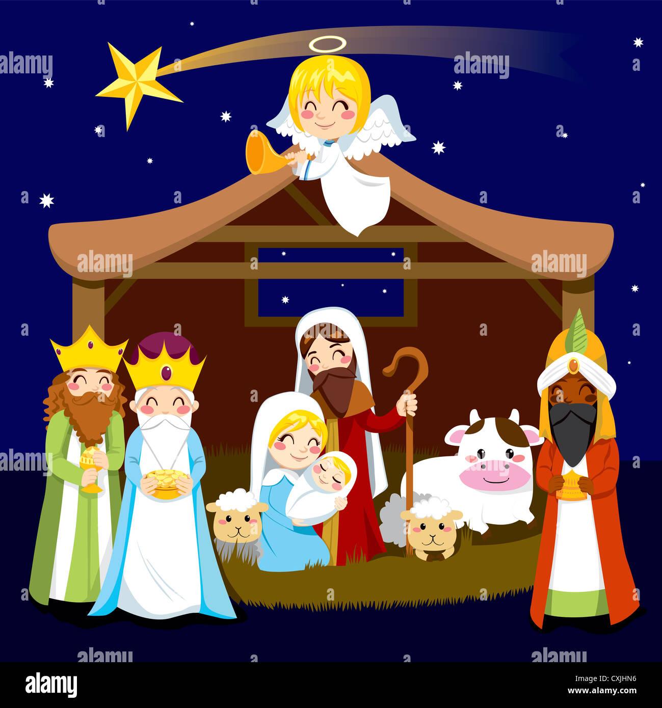 Drei Könige bringen Geschenke, Jesus in der Krippe Weihnachten ...
