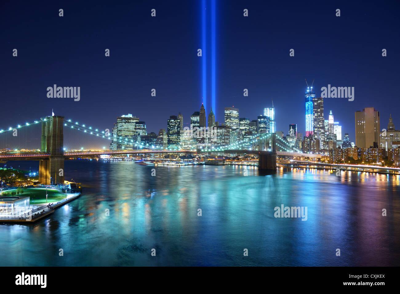 Tribute in Light in Downtown New York City im Gedenken an 9/11 Angriff. Stockbild