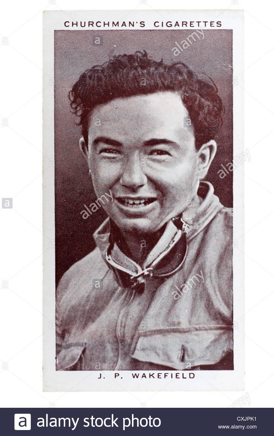 Kirchenmann Kings of Speed Serie Zigarette Karte von 1939: John Peter Wakefield, Motorsport-Fahrer.  Editorial nur Stockbild