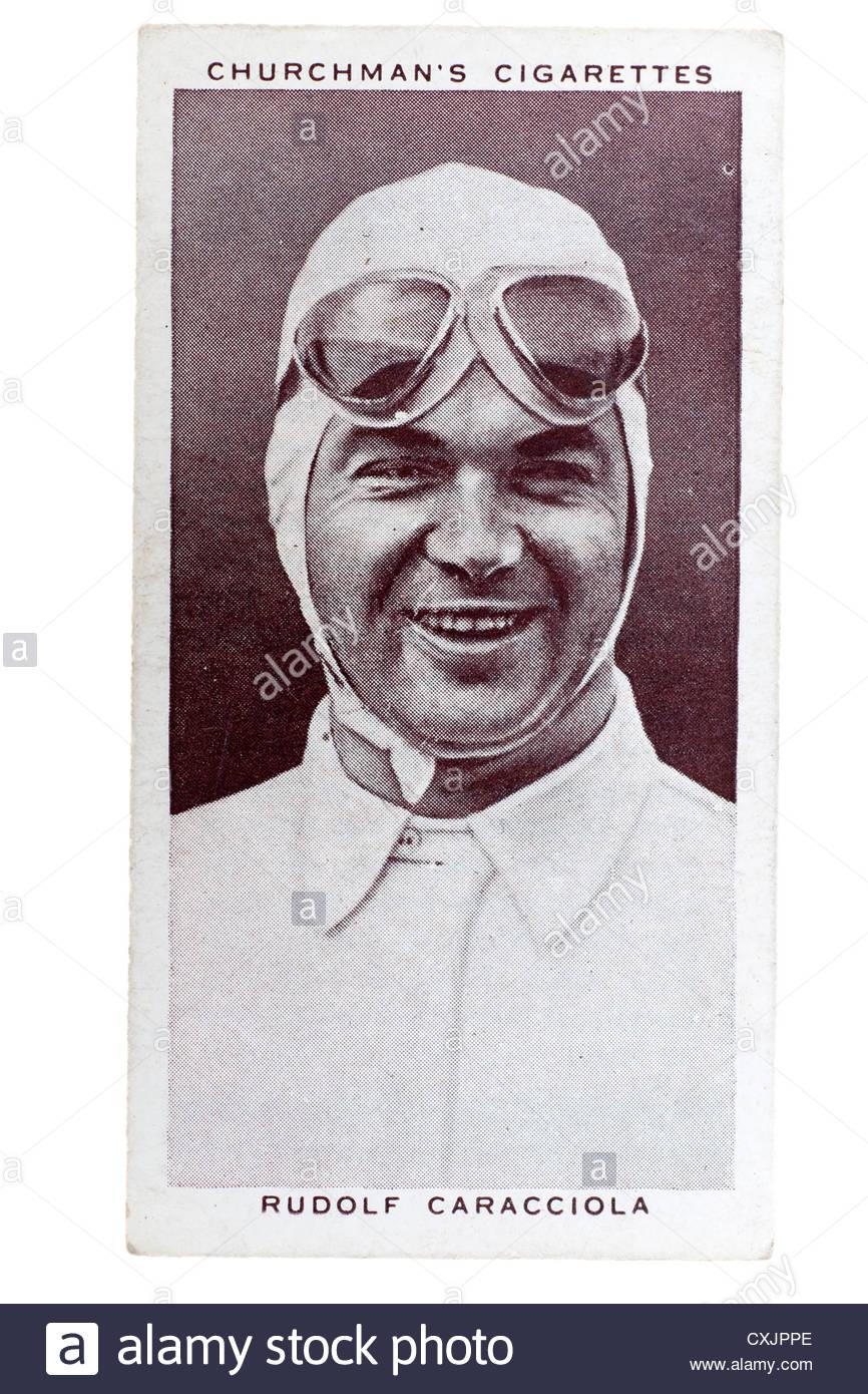 Kirchenmann Kings of Speed Serie Zigarette Karte von 1939: Rudolf Caracciola, deutscher Motorsport-Fahrer.  Editorial Stockbild