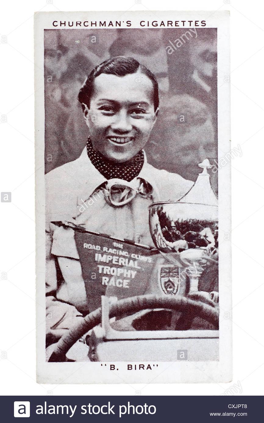 Kirchenmann Kings of Speed Serie Zigarette Karte von 1939: Prinz Birabongse, Thailand Motorsport-Fahrer.   Editorial Stockbild