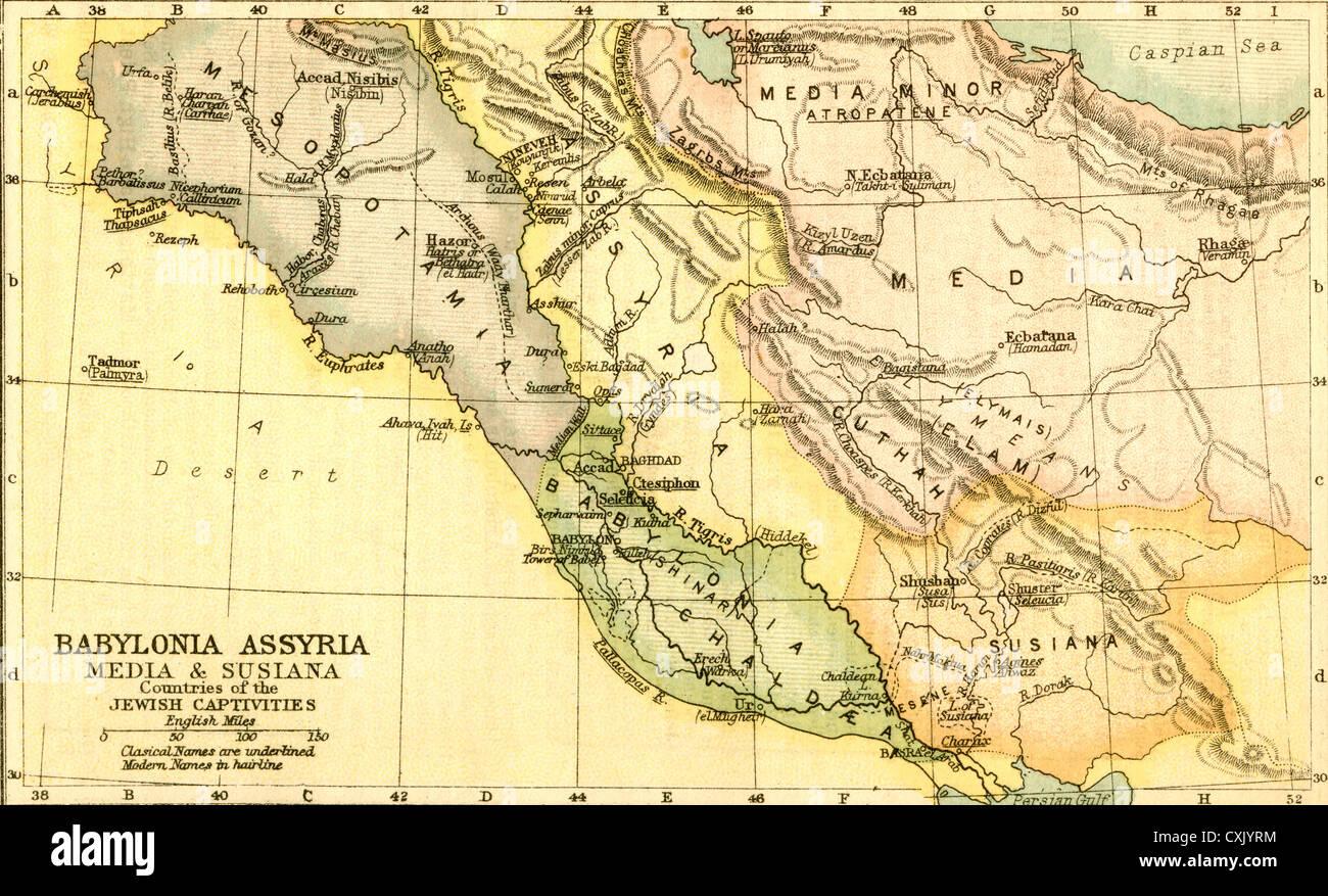 Babylon Karte.Karte Von Babylon Assyrien Medien Und Susiana Länder Von Den