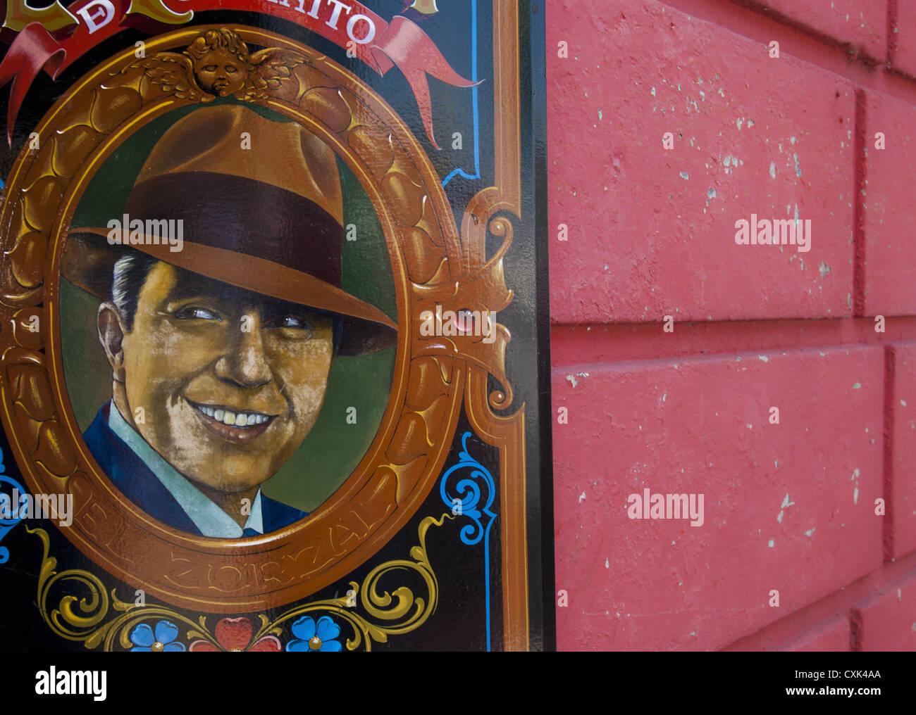 Carlos Gardel auf La Perla Cafe & Bar, Baujahr 1899, Buenos Aires, Argentinien, Südamerika Stockbild