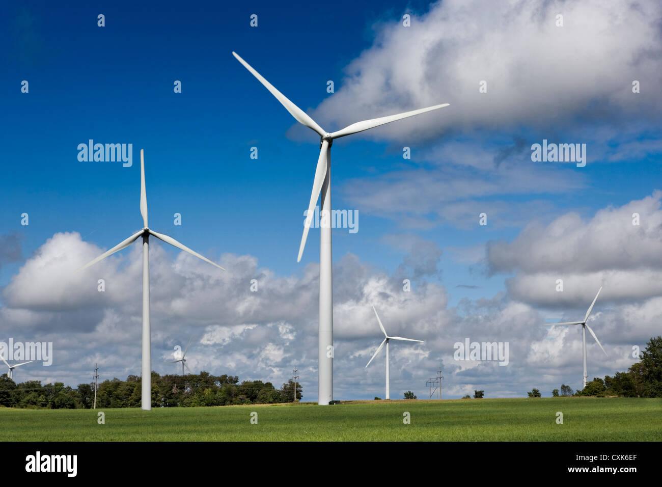 Windpark, Region der Finger Lakes im Staat New York Stockbild