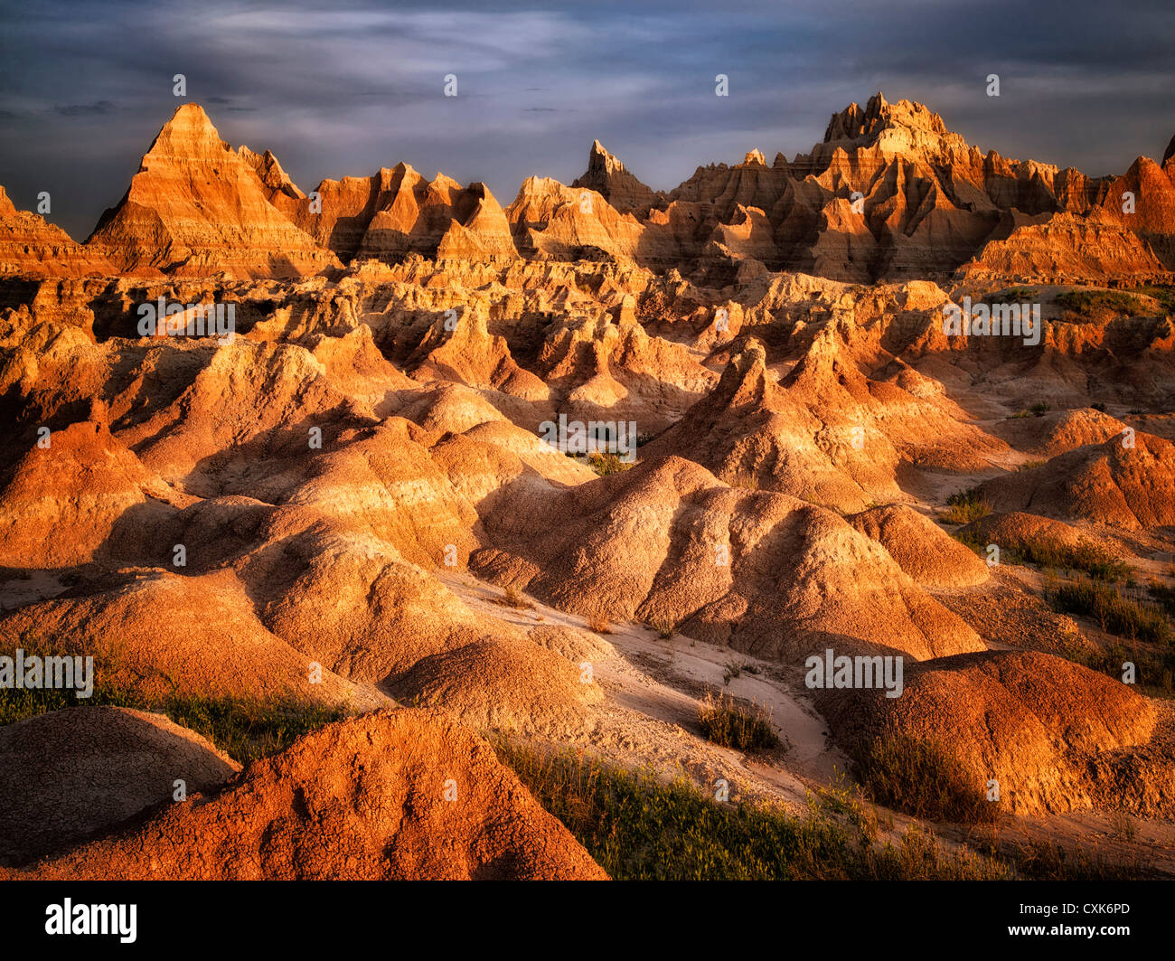 Ausgewaschene Felsformationen in Badlands Nationalpark, South Dakota. Stockbild