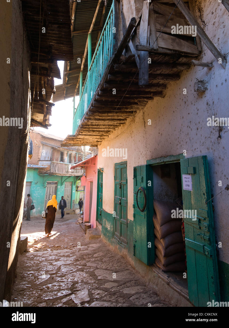 Elk200-4155v Äthiopien, Harar, Altstadt, Haus mit Balkon Stockbild