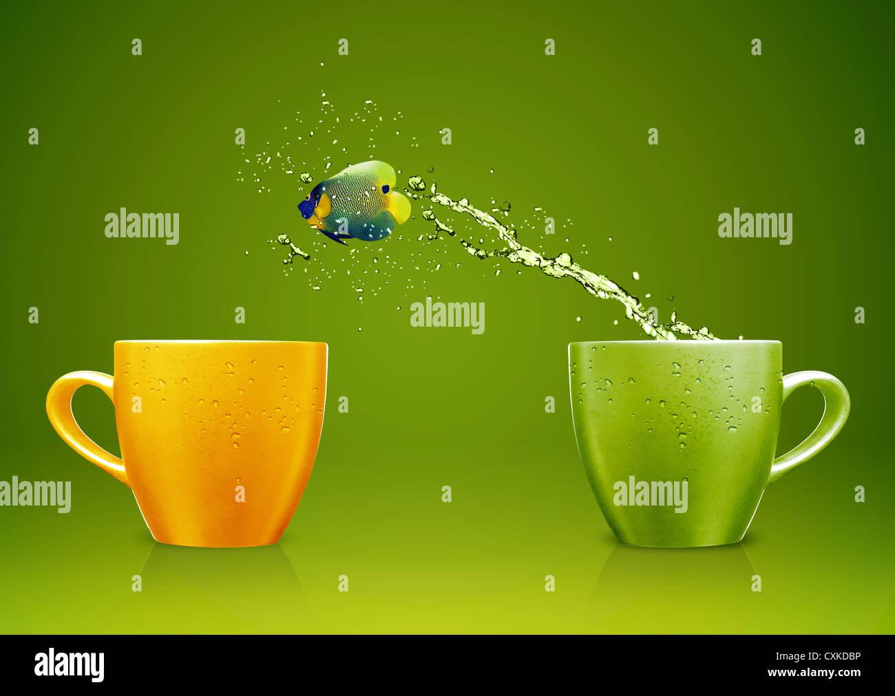 Kaiserfisch springen aus der Tasse mit Wasser spritzt und akrobatischen Bewegungen. Stockbild