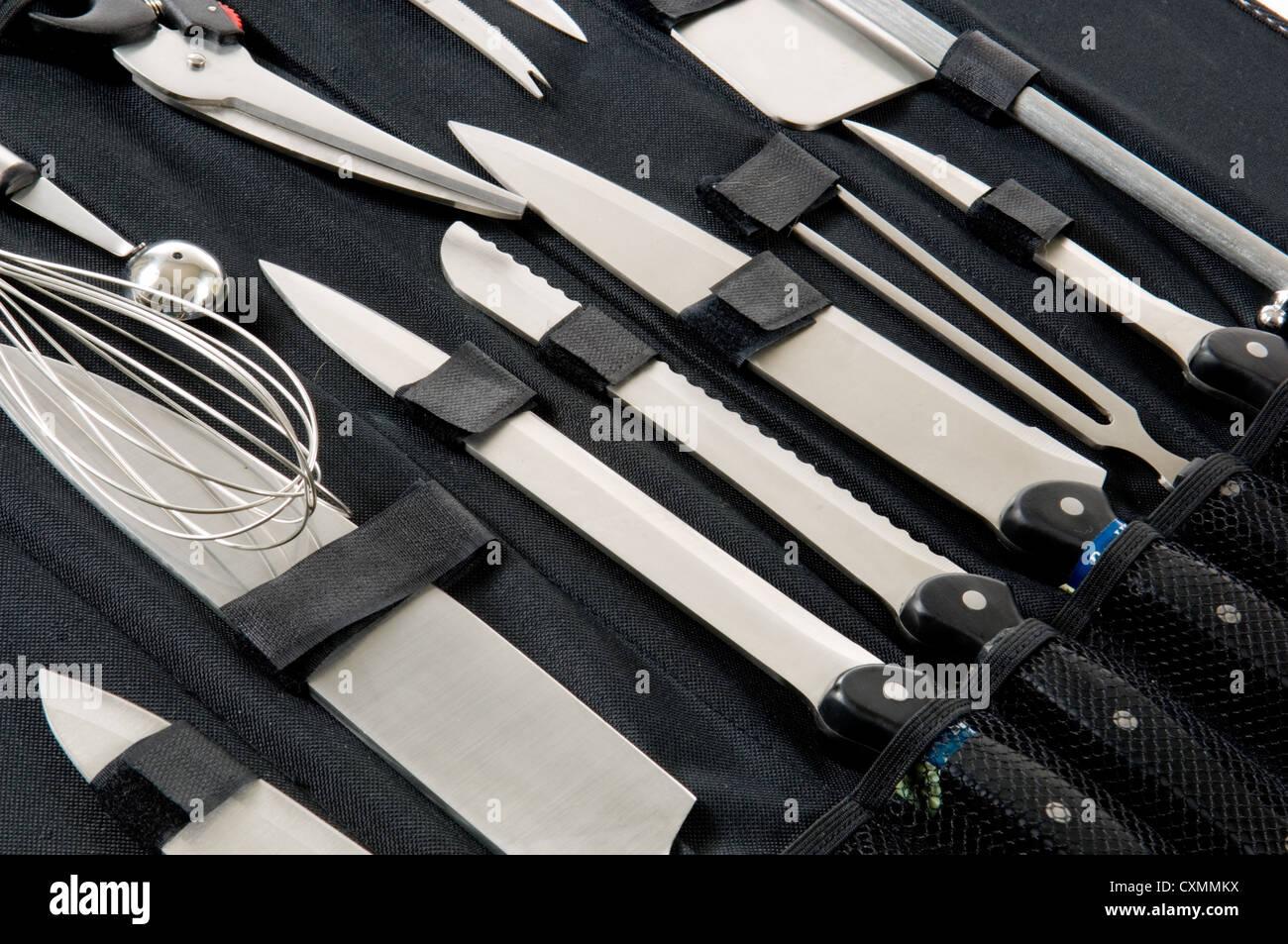 Profi Köche Köche Messer Set Im Schwarzen Koffer Auf Weißem