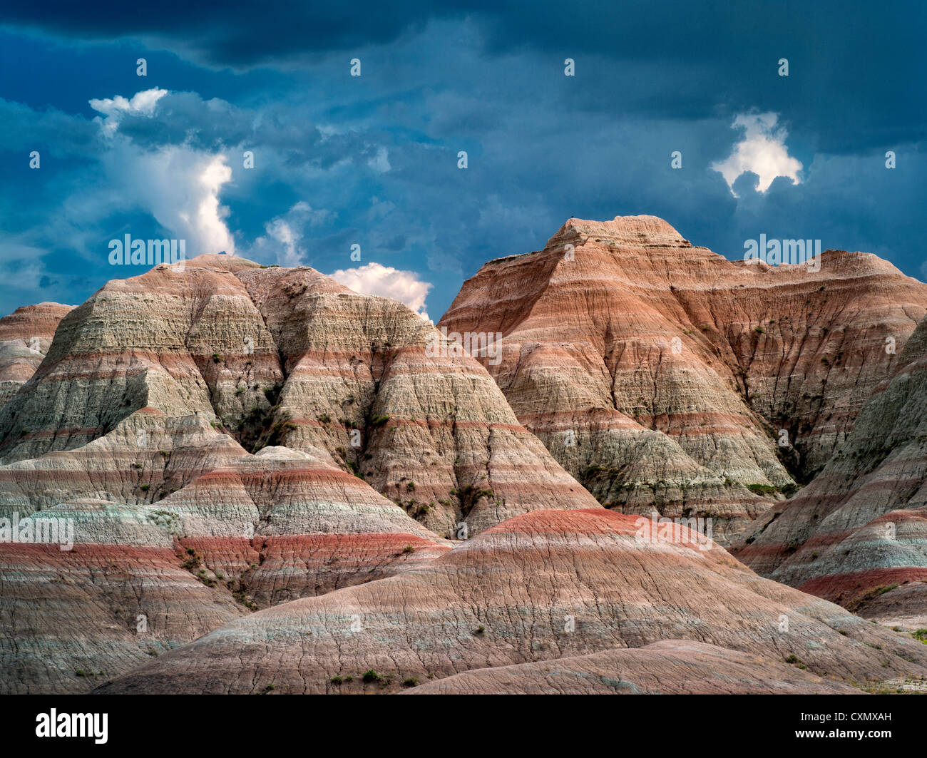 Bunte Felsen an Badlands Nationalpark, South Dakota Stockbild
