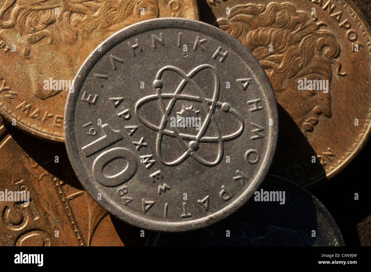 Griechische Drachme Münzen Griechenland Stockfoto Bild 50870369