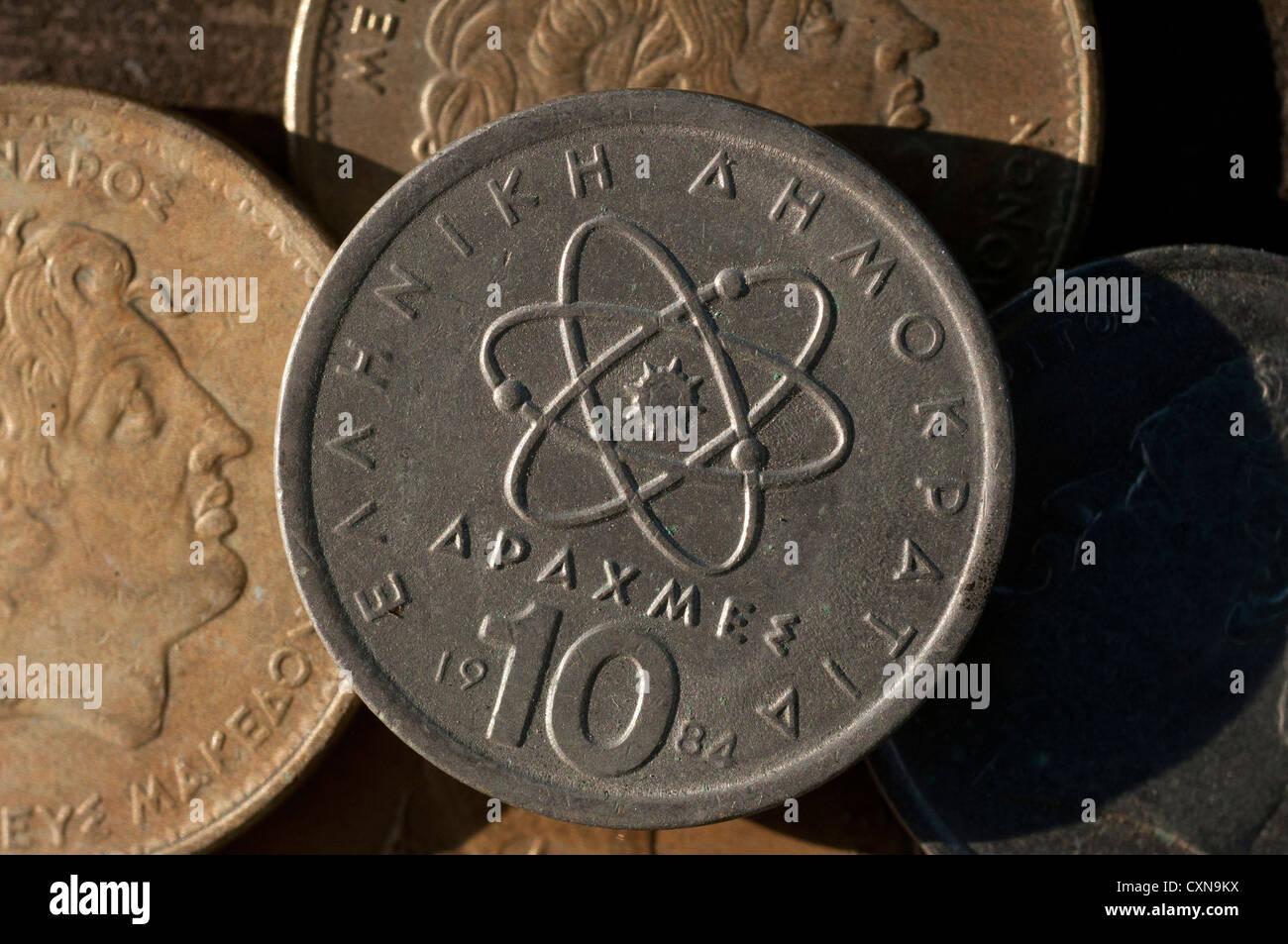 Griechische Drachme Münzen Griechenland Stockfoto Bild 50870398