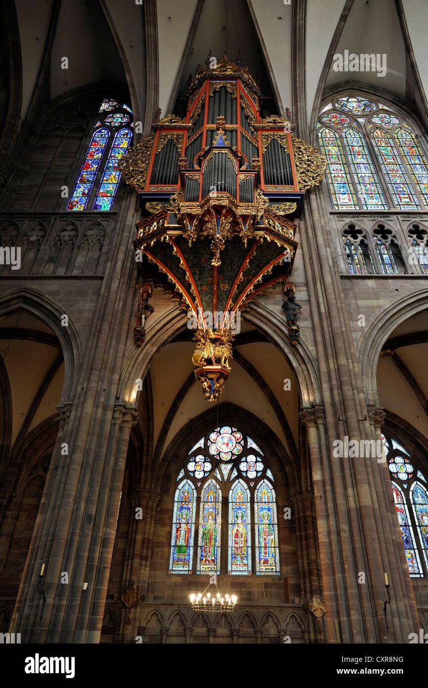 Orgel im Kirchenschiff, mit seiner erhaltenen gotischen Gehäuse, Kirchenschiff, Innenansicht, Straßburger Stockbild