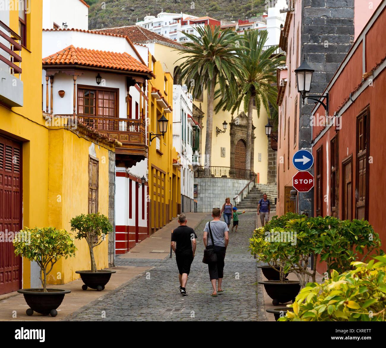 Typische Gasse, Garachico, Teneriffa, Teneriffa, Kanarische Inseln, Spanien, südlichen Nordeuropa Stockbild