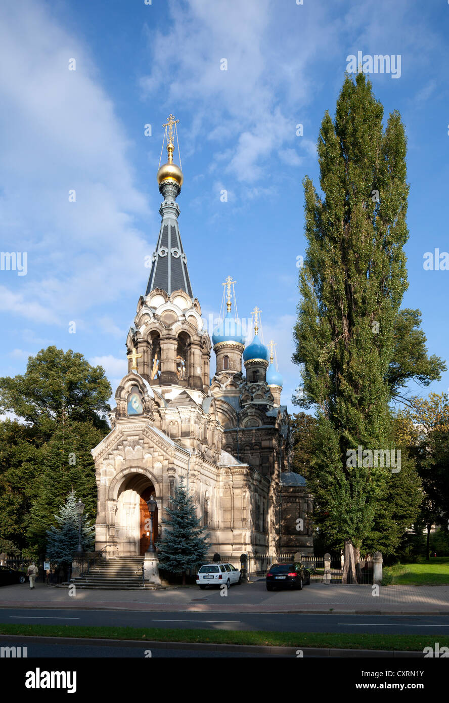 Russische orthodoxe Kirche von Saint Simeon von den wunderbaren Berg, Dresden, Sachsen, Deutschland, Europa, PublicGround Stockbild