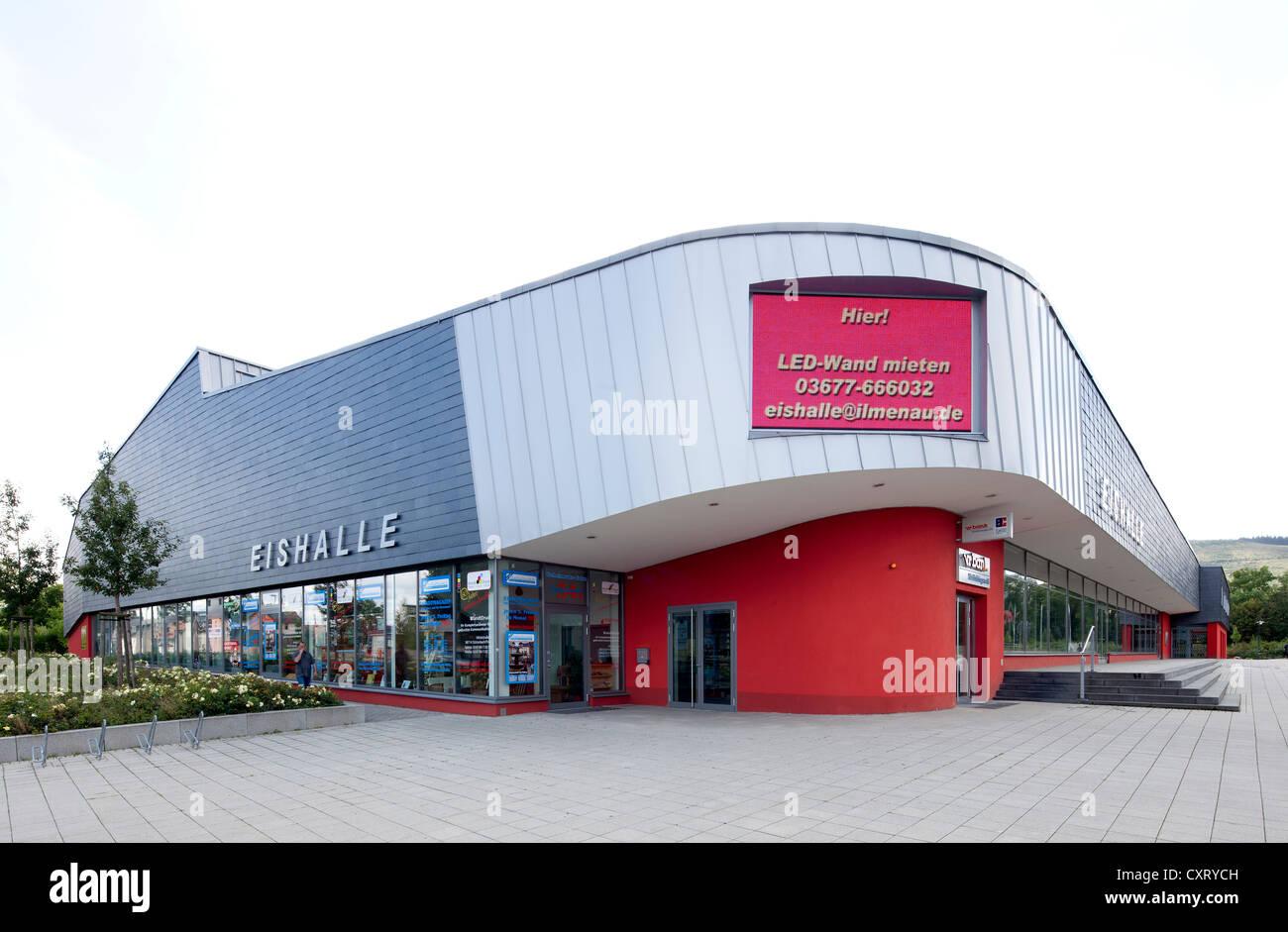 Eishalle Ilmenau, ein Eislaufen Eislaufplatz und Unterhaltung Veranstaltungsort, Ilmenau, Thüringen, Deutschland, Stockbild