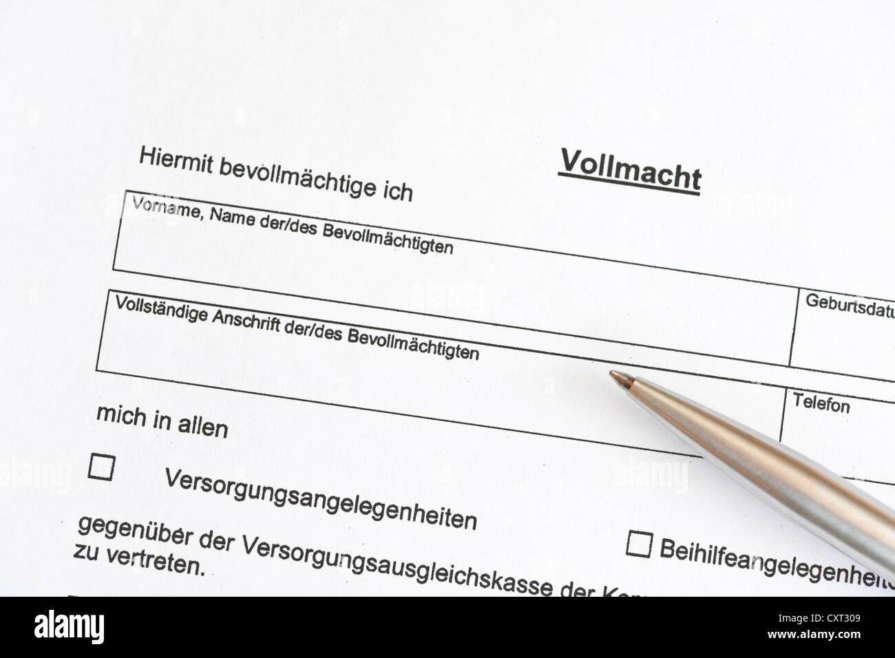 Vollmacht Formular Deutschland Europa Stockfoto Bild 50931001