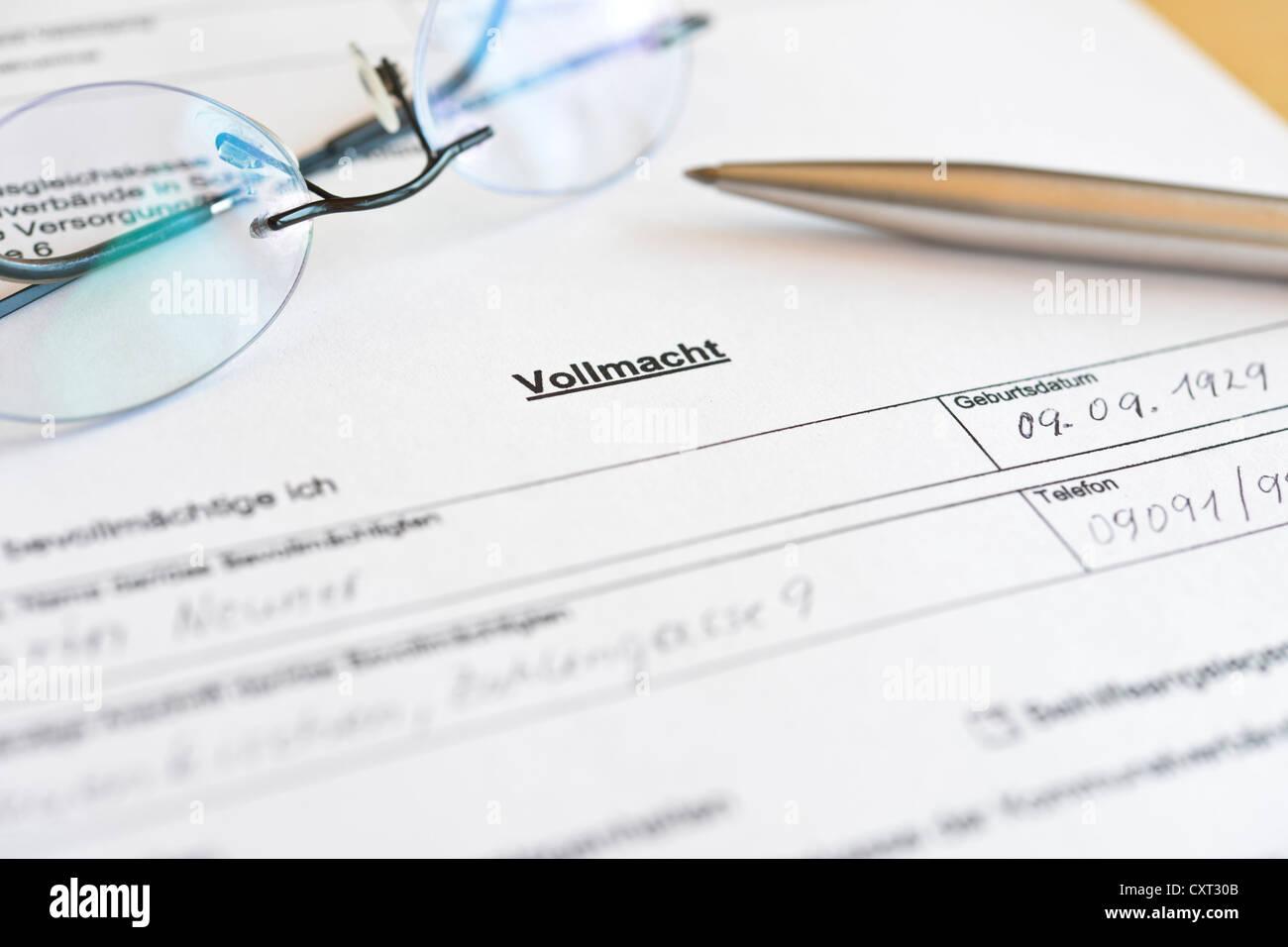 Abgeschlossen Vollmacht Formular Deutschland Europa Stockfoto