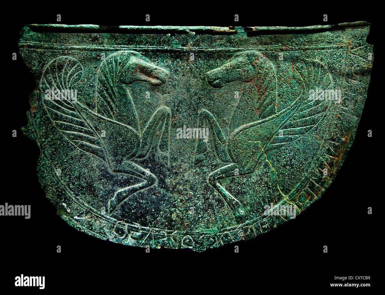 Bronze-7. Jahrhundert v. Chr. 7 Kreta Kreta griechische griechischen Mitrai Bauch Wachen für Pferde Stockbild