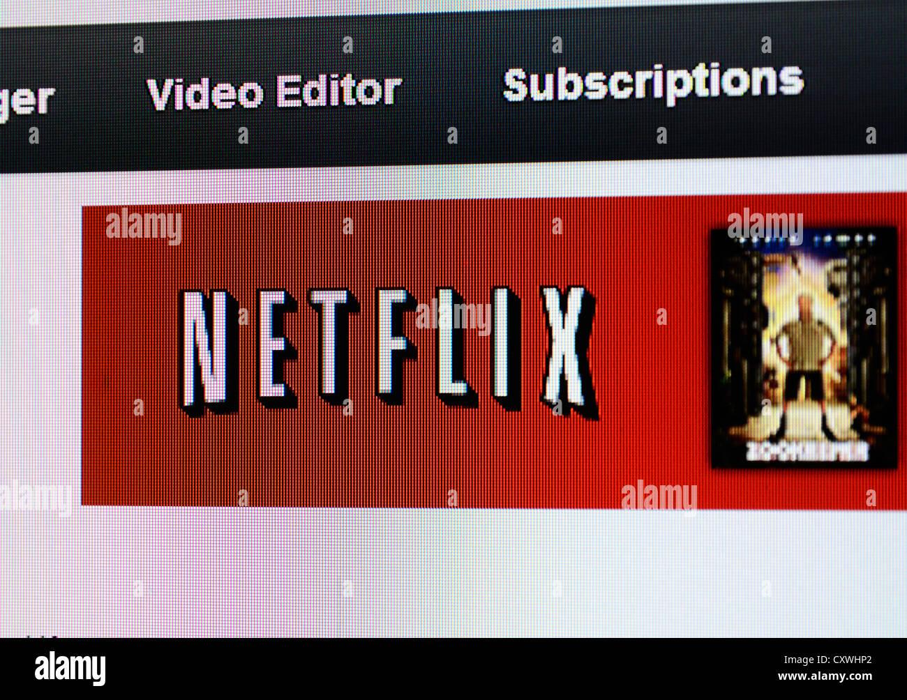 der Netflix-Website Stockbild