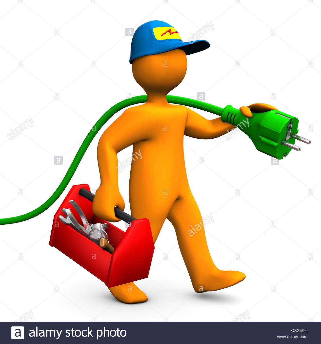Orange Cartoon-Figur als Elektriker mit Werkzeugkiste und Stecker ...