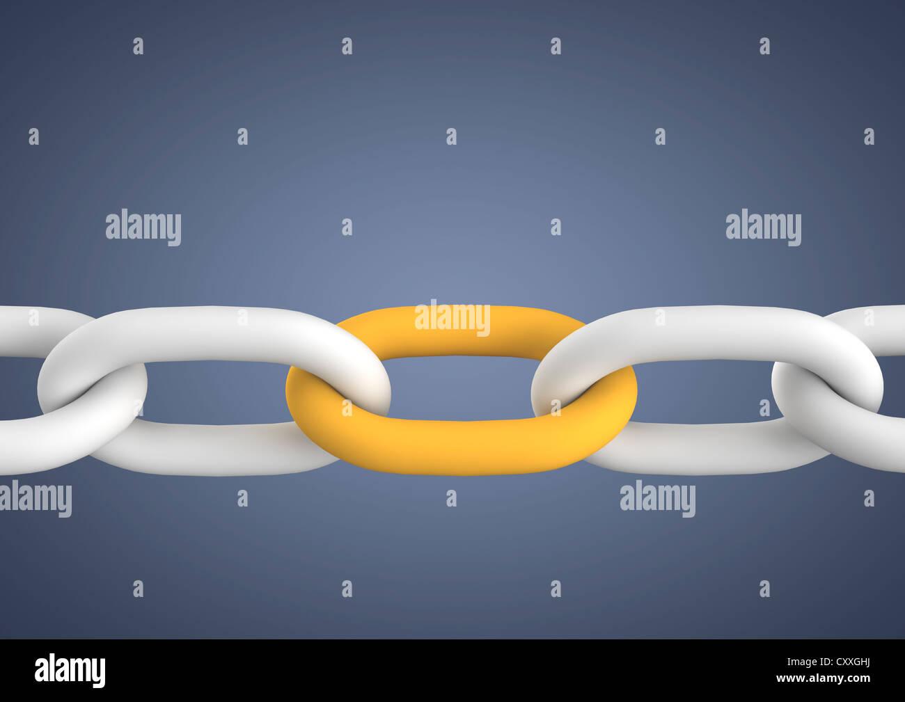 Kette mit ein wichtiges Element, symbolisches Bild für Zusammenhalt, Teamarbeit, Verbindung, 3D illustration Stockbild