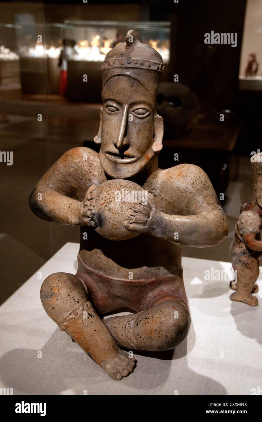 Sitzende Ballplayer 1. Jahrhundert BC 3. Jahrhundert Mexiko Mittelamerika Jalisco Ameca Etzatlán Keramik 50 Stockbild