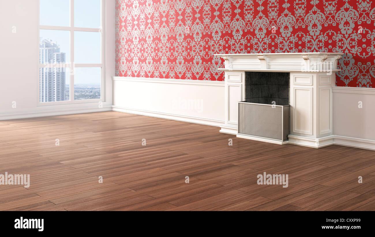 Leeren Wohnzimmer mit Kamin, Barock-Stil Tapeten und Eichenparkett ...