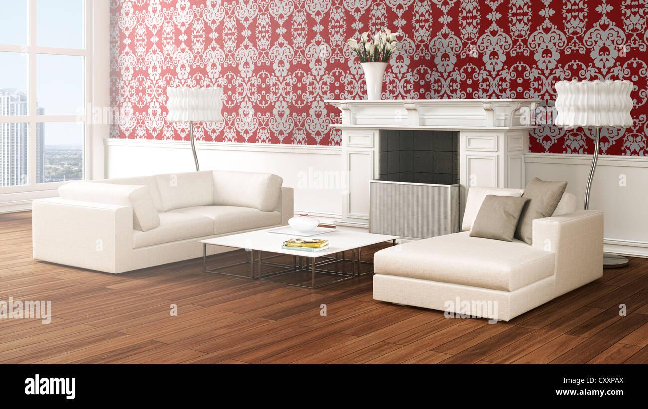Loft-ähnliche Wohnzimmer mit Sofas, Lampen, Couchtisch, Kamin, Vase ...
