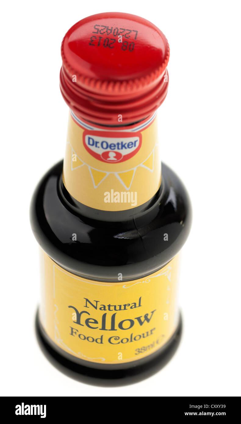Flasche von Dr. Oetker natürliche gelbe Farbe Lebensmittelfarbe Stockbild