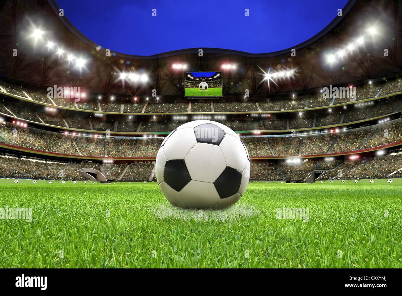 Fußball, Fußball-Stadion, Rasen, Zuschauertribüne Stockbild