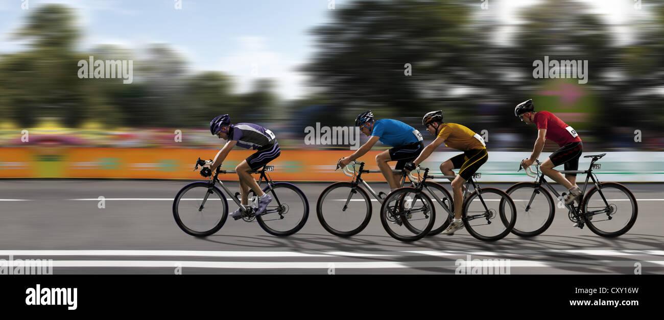 Radfahrer, Radrennen, Wettbewerb Stockbild