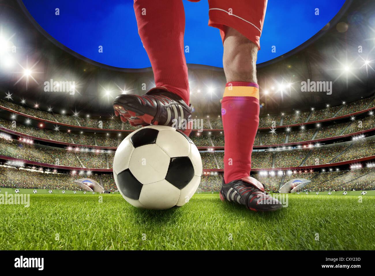 Beine, Fußball, Fußballspieler, Fußball-Stadion Stockbild