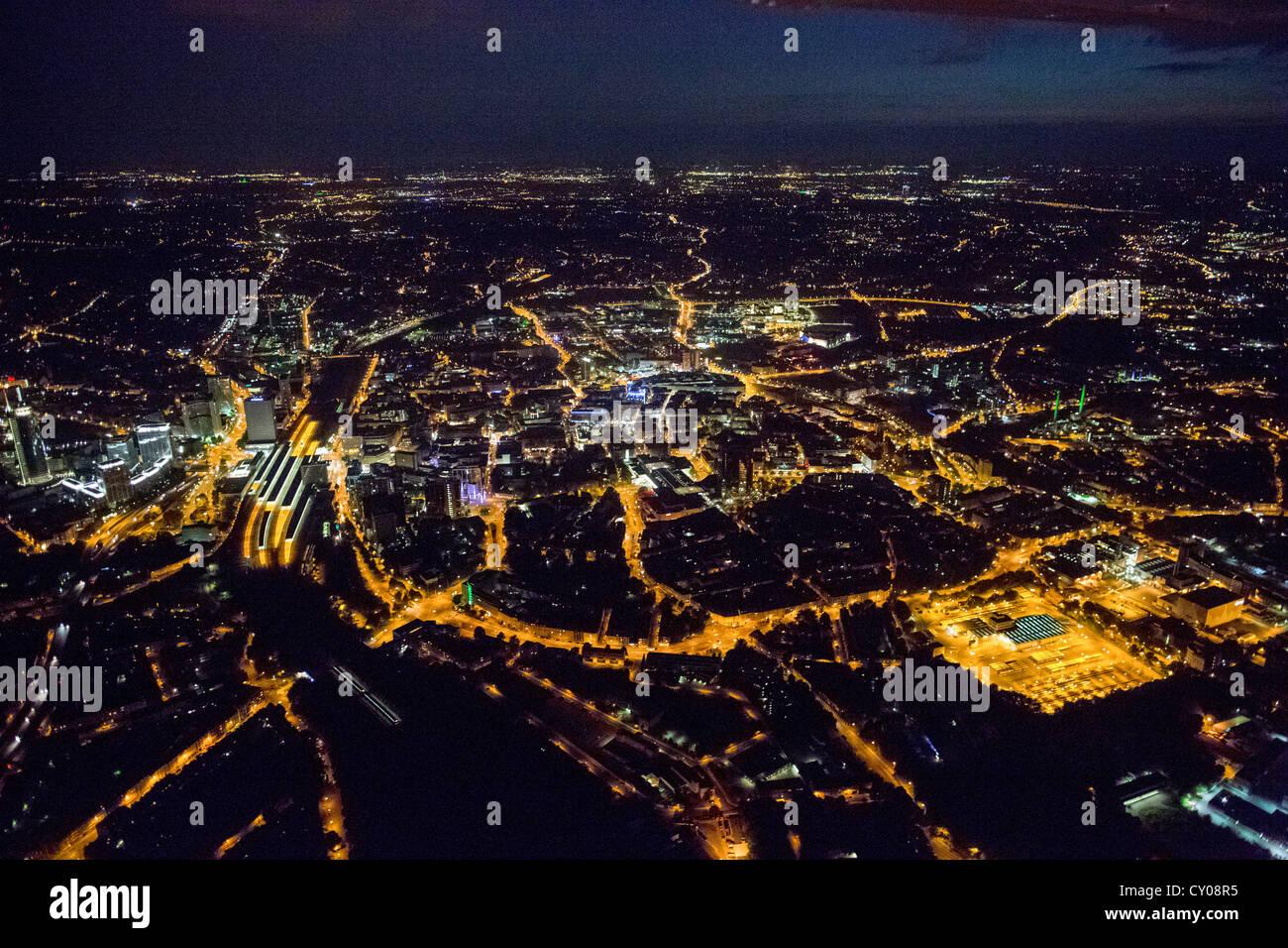 Luftaufnahme, Essen, Extraschicht 2012, jährliche Kulturveranstaltung, Ruhrgebiet, Nordrhein-Westfalen Stockbild