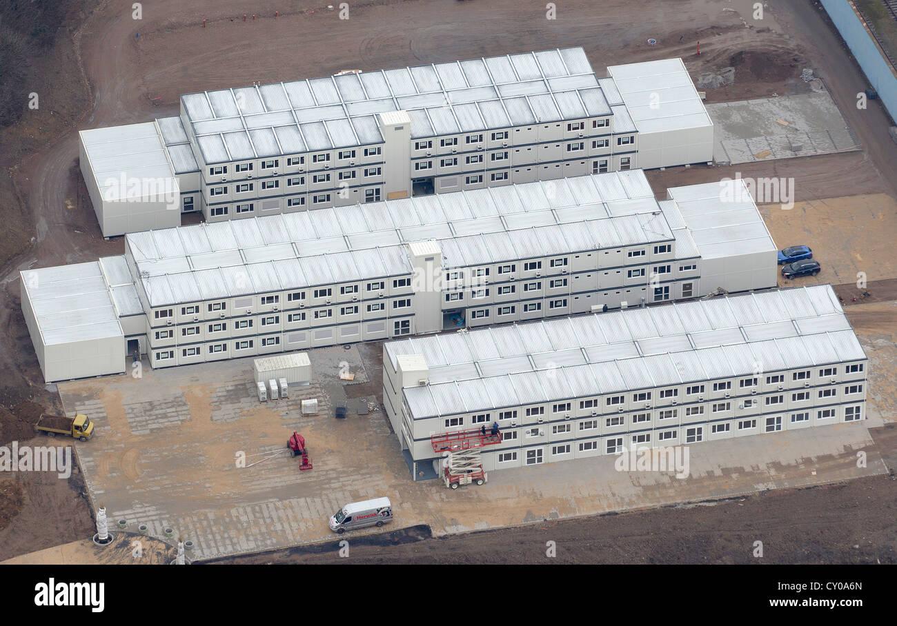 Luftaufnahme, Behälter des Standortes interim der Hochschule Ruhr West Institute of Science und hoch-und Tiefbau, Stockbild