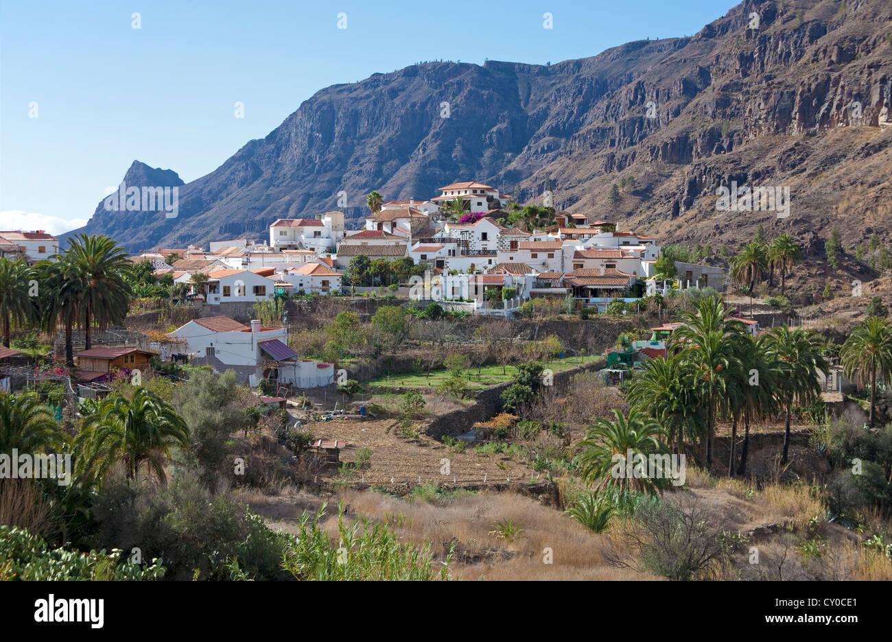 Das kleine Dorf Fataga, Gran Canaria, Kanarische Inseln, Spanien, Europa Stockbild