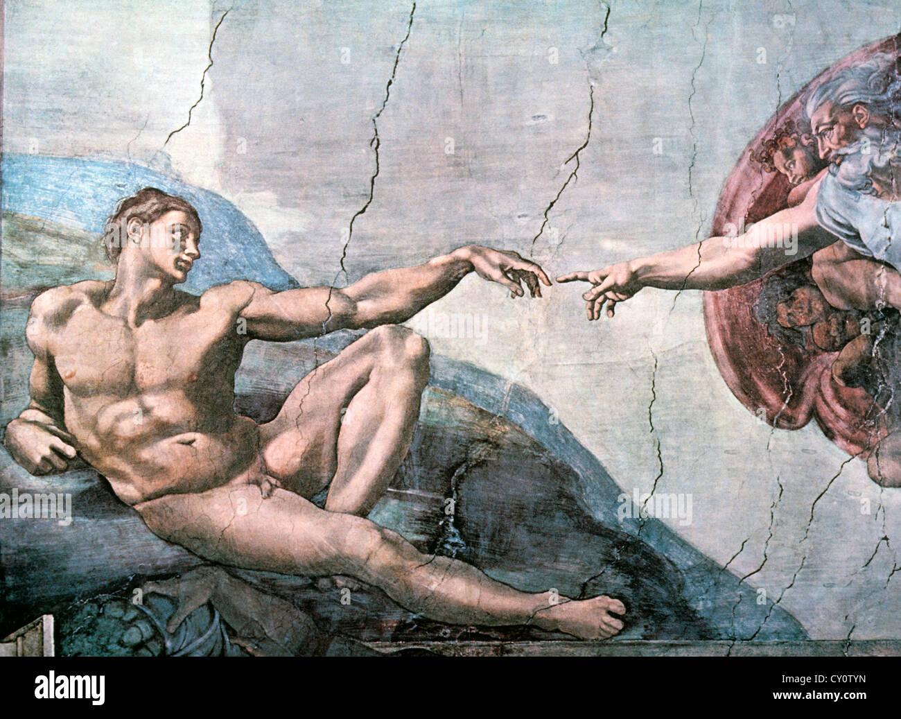 Gott erschafft Adam, Sixtinische Kapelle, Vatikan, Michelangelo, Fresko, 1508-11 Stockbild