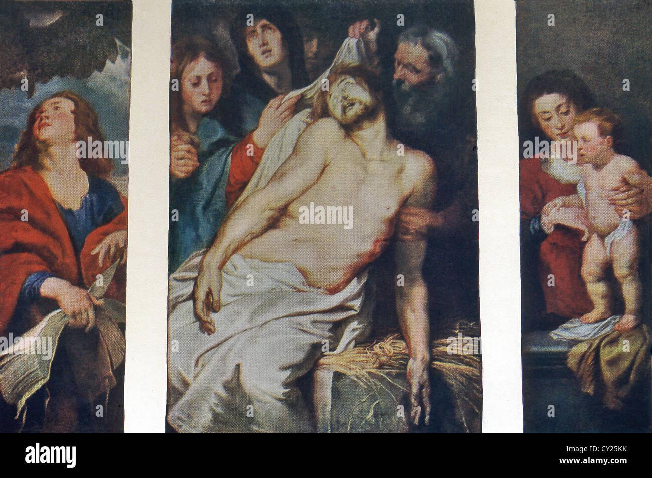 Dieses Triptychon mit dem Titel Christus ein La Paille, malte 1617-18 von Rubens für Grab eine Antwerpen Kaufmanns. Stockbild